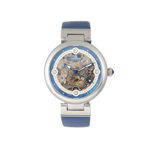 Empress Adelaide Automatic Skeleton Leather-Band Watch - Blue   - EMPEM2505