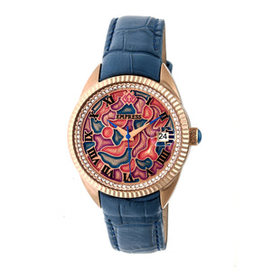 Empress Helena Leather-Band Watch w/Date - Rose Gold/Blue - EMPEM1806