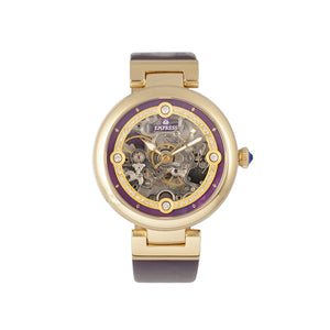 Empress Adelaide Automatic Skeleton Leather-Band Watch - Purple  - EMPEM2506