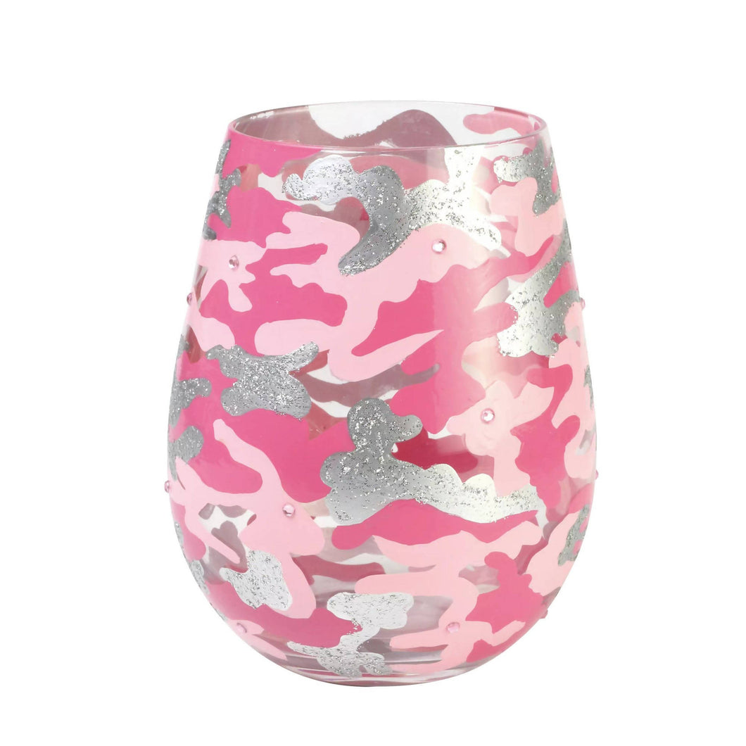 Camo Stemless Hand Painted Wineglass