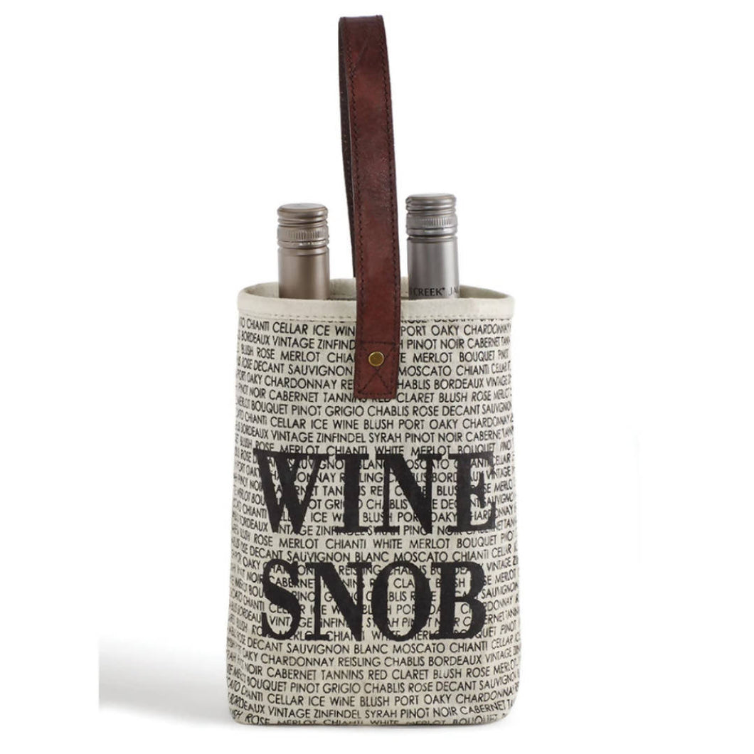 Wine Snob Upcycled Canvas Bag | We Shop Local Perth ON