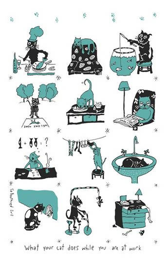 What your cat does Tea Towel