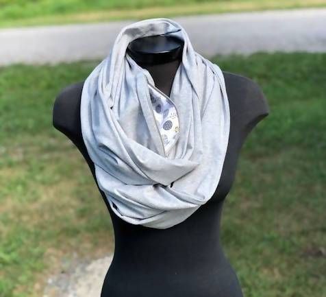Light Grey Infinity Scarf (Knit)