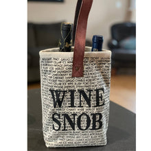 Load image into Gallery viewer, Wine Snob Upcycled Canvas Bag | We Shop Local Perth ON