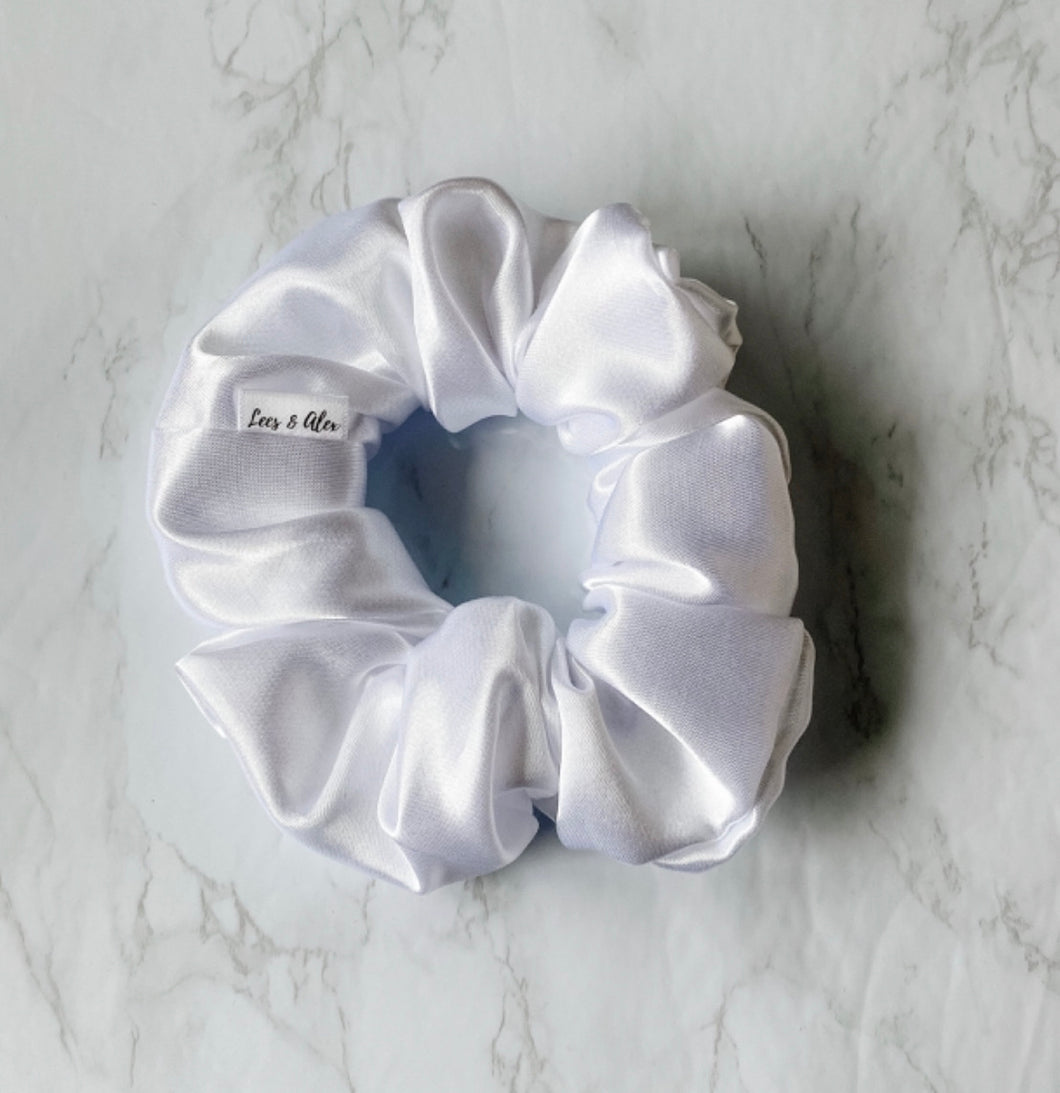 Adria White Satin Scrunchie