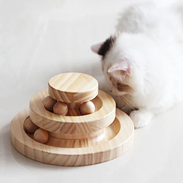 Vinci Wooden Ball Track Cat Toy