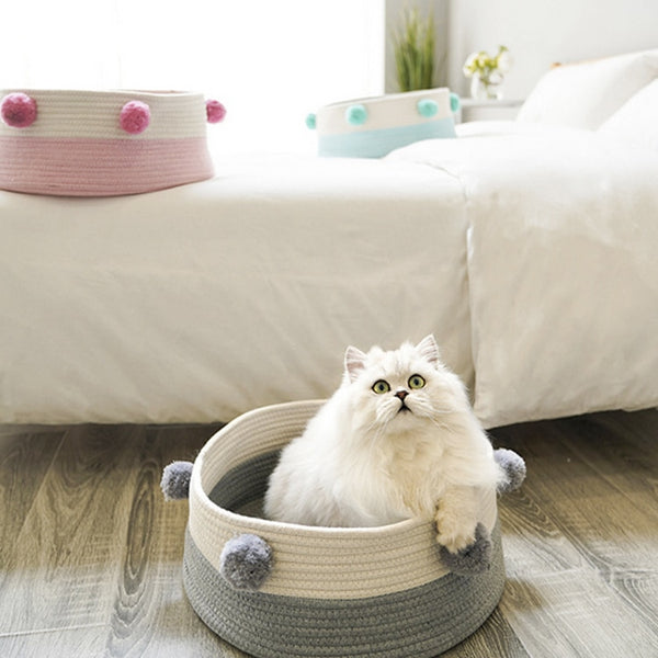 with Pompom Woven Cat Bed Pet Beds Summer Sleeping Bag Nest Basket Pet Bed Mat House Comfortable Cat Bed