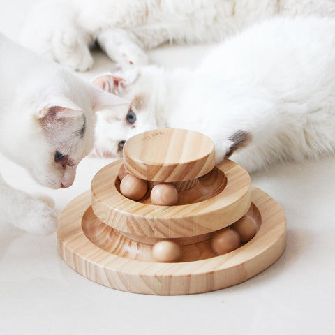 pet Three Levels Tower Tracks Disc cat Intelligence Amusement triple pay disc cat toys ball Training Amusement plate