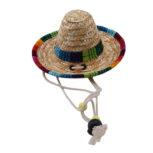 Straw Sombrero Mexican Hat Pet Adjustable Buckle Multicolor Pet Straw Dog Cat Hat