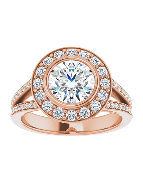 Halo-Style Engagement Ring with a Bezel Set Center and a Split Shank 1/2 ct. tw.