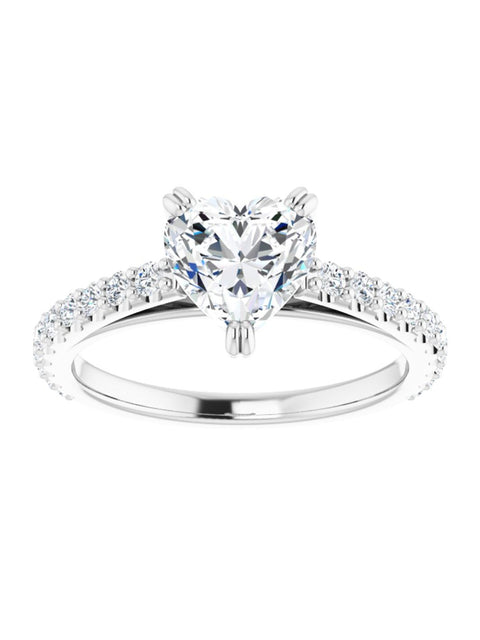 Cathedral Style Engagement Ring with Diamond Band - Light 1/2 ct. tw.