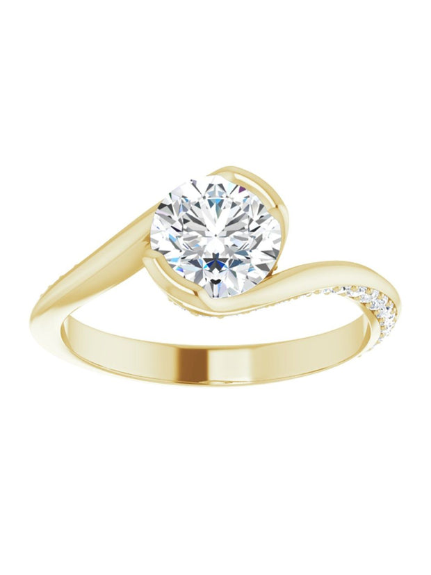 Bypass Half Bezel Set Engagement Ring with Diamond Accented Side Profile 1/4 ct. tw.