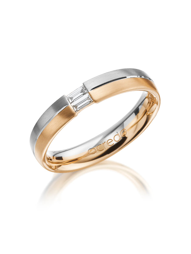 4 mm 14K White and Rose Gold Band with 2 Baguette Diamonds 1/10 ct.tw. G/VS