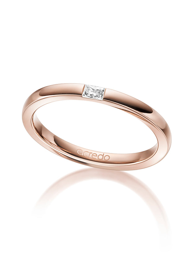 14K Red Gold Diamond Band