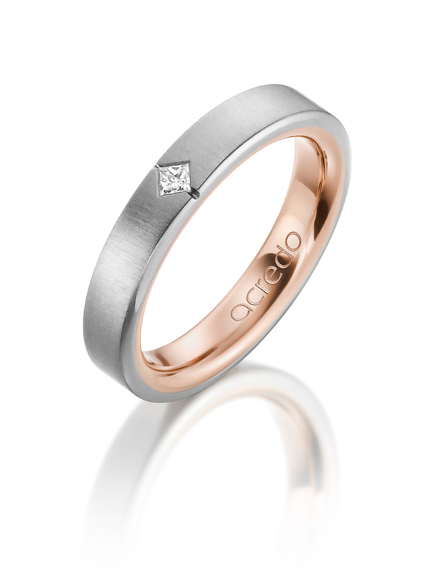 4 mm 14K Gray and Red Gold Band 0.05 ct. tw. G/Vs