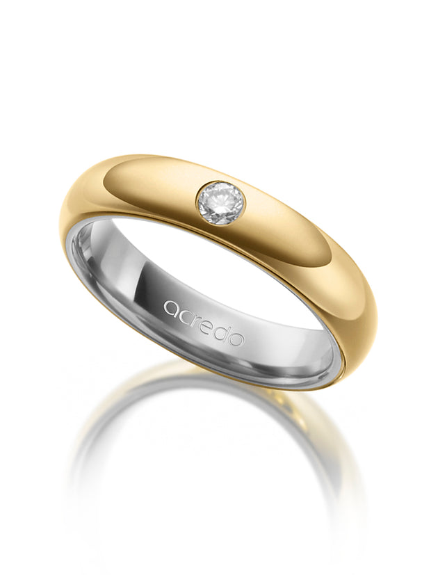 4.5 mm 14K Gray and Yellow Gold Band 1/10 ct. tw. G/Si1