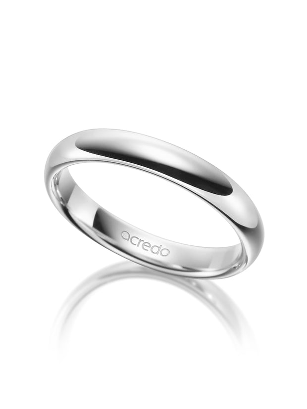 4 mm Polished Wedding Band in Platinum 600