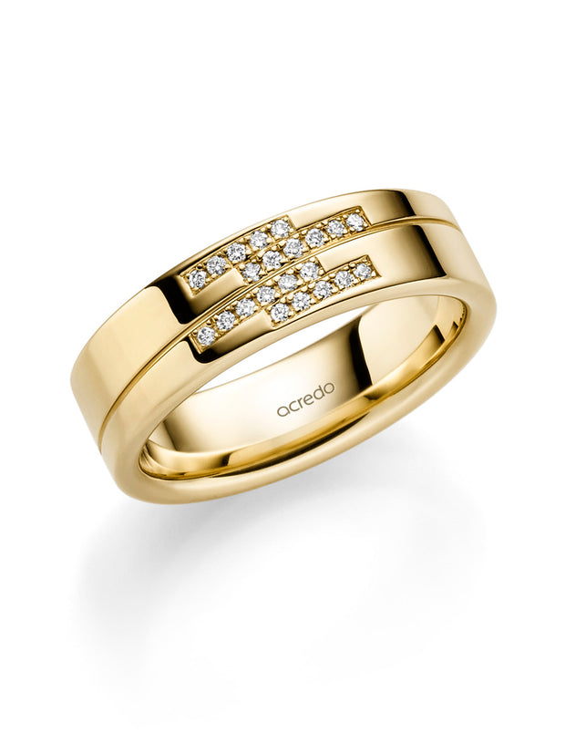 14K Yellow Gold 6mm Diamond Band with Saturn Groove (1/9 ct.tw. G/Si1)