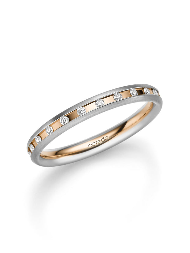 14K Palladium Grey & Rose Gold Diamond Eternity Band with Matte Finish 1/5 ct. tw G/Si1