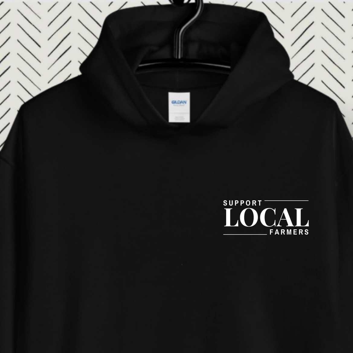 Support Local | Art | Music | Famers | Makers | Black Unisex Hoodie