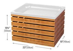 slatted wood produce crate and plastic liner<p>CR101 | CR102