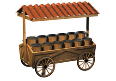 wagon style display cart - ceramic canopy<p>DC120