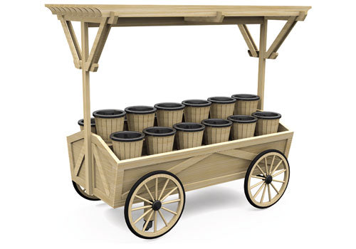 Wagon Style Display Cart - Wood Canopy [DC120W]