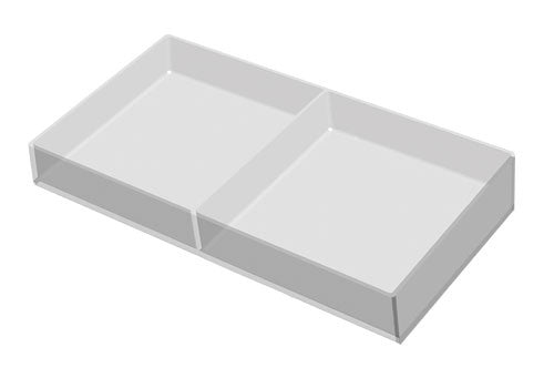 clear produce tray with adjustable divider<p>PDT17