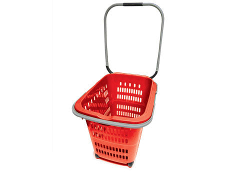 rolling plastic shopping basket<p>RSPB2-RED