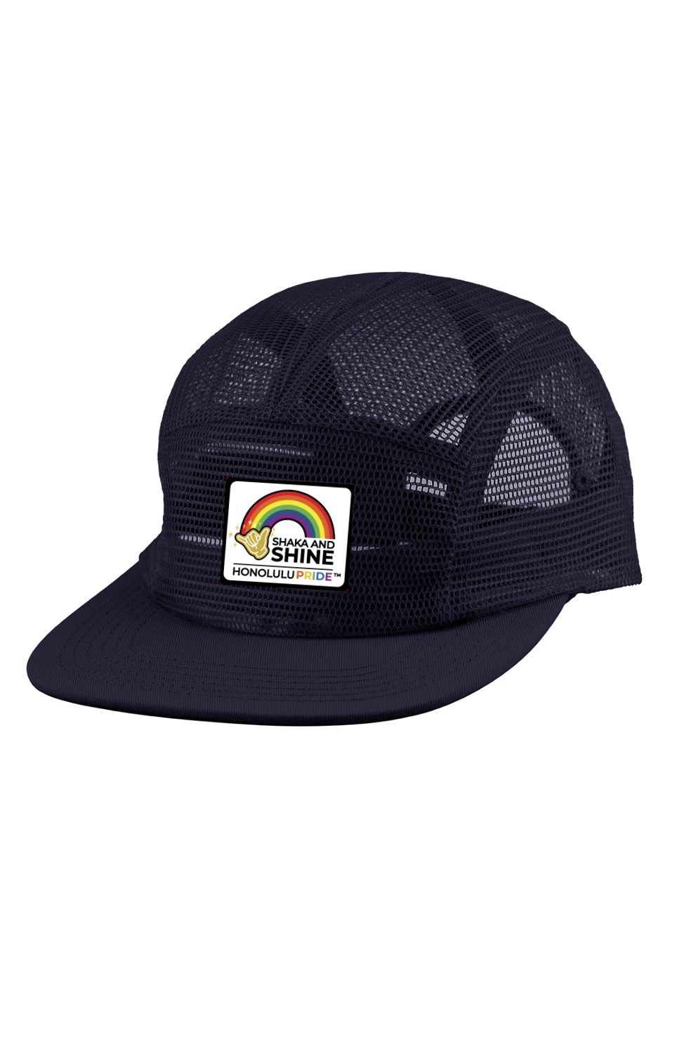 Shaka and Shine 5 Panel Mesh Camper Cap in Navy Blue