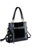 MOFE Leather Handbag Eunoia Leather And Suede Large Lightweight Classic Casual Shoulder Bag With Pockets and Top Handle and Long Crossbody Over The Shoulder Strap for Work or Everyday Black Brass