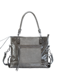 MOFE Leather Handbag Eunoia Leather And Suede Large Lightweight Classic Casual Shoulder Bag With Pockets and Top Handle and Long Crossbody Over The Shoulder Strap for Work or Everyday Grey Gray Gunmetal
