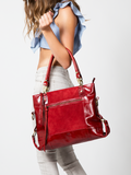 MOFE Leather Handbag Eunoia Leather And Suede Large Lightweight Classic Casual Shoulder Bag With Pockets and Top Handle and Long Crossbody Over The Shoulder Strap for Work or Everyday Red Brass