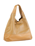 MOFE Leather Handbag Halcyon Large Soft Slouchy Triangle Tote Shoulder Bag With Center Divider Zipper Pocket Tan Camel Brown