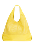 MOFE Leather Handbag Halcyon Large Soft Slouchy Triangle Tote Shoulder Bag With Center Divider Zipper Pocket Yellow