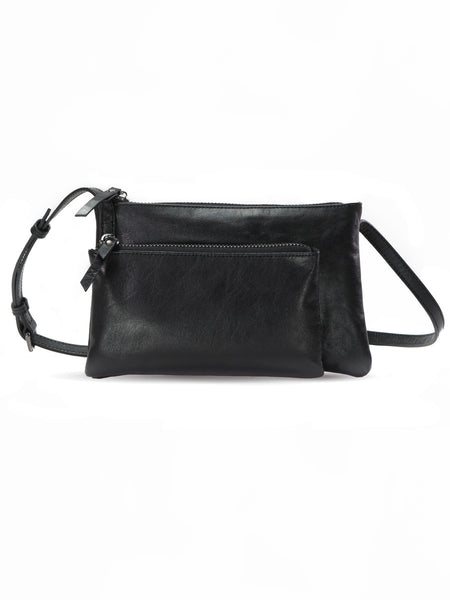 c84ea9ff91be KAIROS black leather crossbody bag w cell holder   soft leather ...