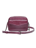 MOFE Leather Handbag Orenda Large Crossbody Bag With Chain Strap, Dual Zipper Compartment, Exterior Flap Pocket, Everyday or Travel, Plum Purple Burgundy Maroon