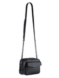 MOFE Leather Handbag Orenda Large Crossbody Bag With Chain Strap, Dual Zipper Compartment, Exterior Flap Pocket, Everyday or Travel, Black