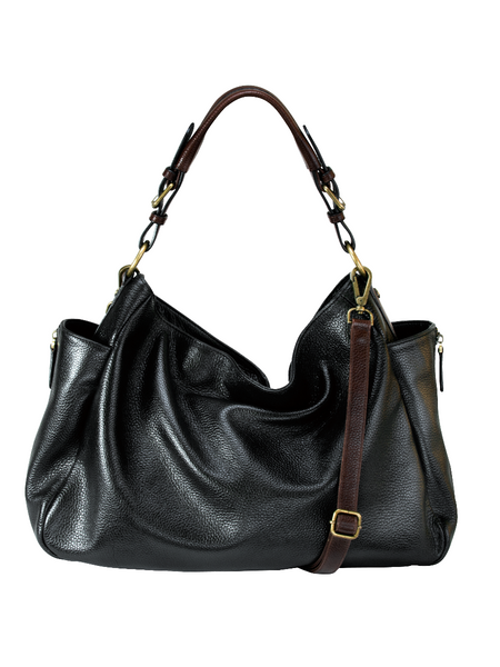 a02c581244 RHAPSODIC black leather slouchy and soft hobo shoulder bag