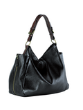 MOFE Leather Handbag Rhapsodic Large Big Soft Slouchy Hobo Shoulder Tote Bag Black With Brown Strap
