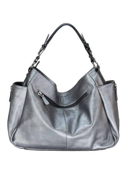 8a7b8e5147c RHAPSODIC pewter silver slouchy, soft leather hobo shoulder bag   MOFE –  MOFÉ