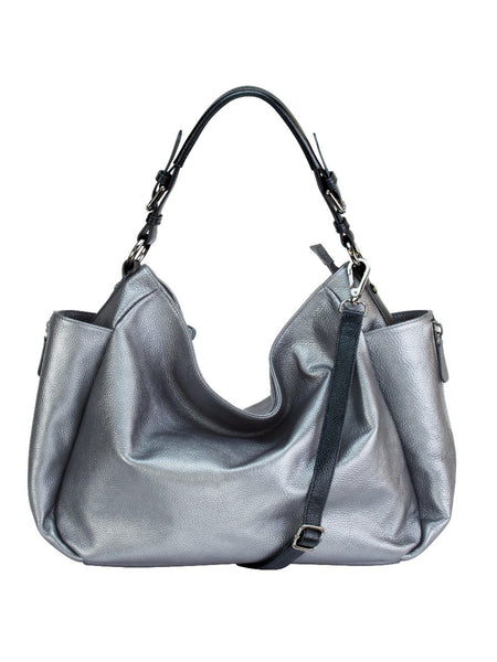 MOFE Leather Handbag Rhapsodic Large Big Soft Slouchy Hobo Shoulder Tote Bag  Pewter Metallic Silver With ... 7915e885887a9