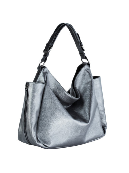 ... MOFE Leather Handbag Rhapsodic Large Big Soft Slouchy Hobo Shoulder  Tote Bag Pewter Metallic Silver With ... a136a9aba5e0d