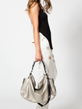 MOFE Leather Handbag Rhapsodic Large Big Soft Slouchy Hobo Shoulder Tote Bag Pewter Metallic Silver