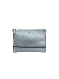 MOFE Leather Handbag Sage Pebble Clutch Pouch Pewter Metallic Silver