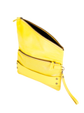 MOFE Leather Handbag Trifecta Handstrap Foldover Clutch With Perforated Leather And Rivet Studs Unique Edgy Fashion Yellow Brass