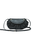 MOFE Leather Handbag Bijou Small Crossbody Bag Black Brass; Perforated Leather and Rivet Studs