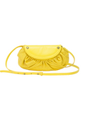 MOFE Leather Handbag Bijou Smalll Crossbody Bag Yellow Brass; Perforated Leather and Rivet Studs