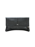 MOFE Leather Handbag Esoteric Pebble Leather Foldover Day and Evening Clutch Black