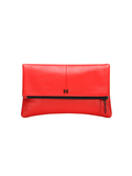 MOFE Leather Handbag Esoteric Pebble Leather Foldover Day and Evening Clutch Tomato Red